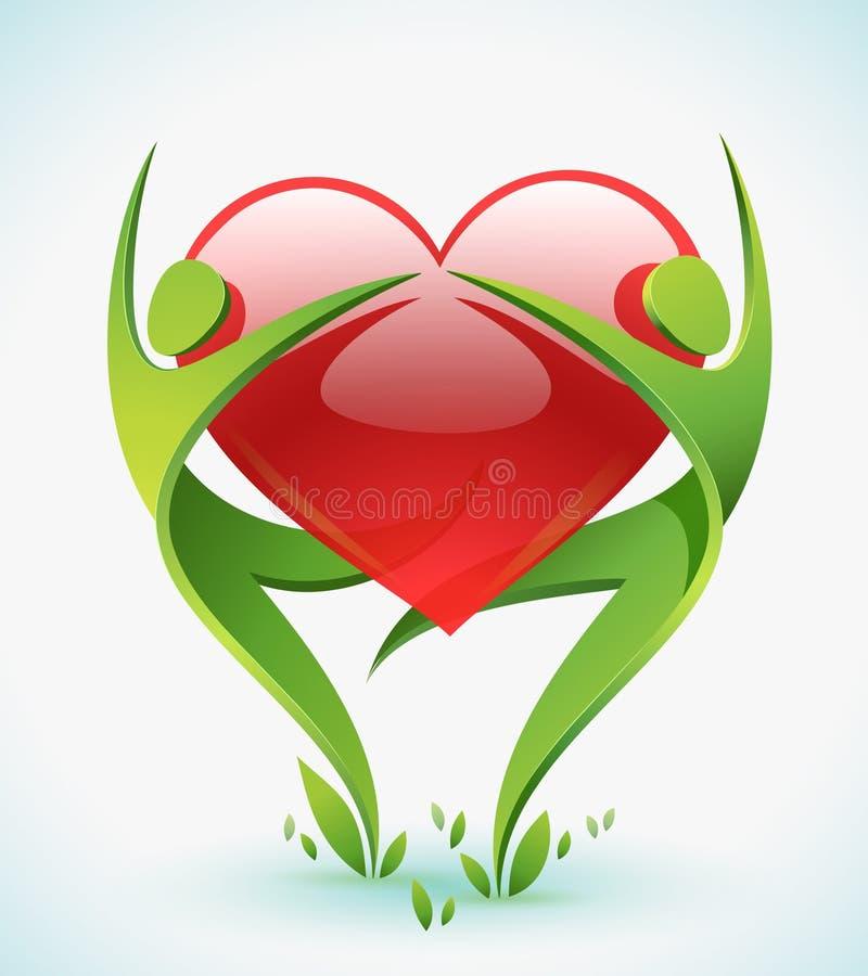 Due figure verdi abbracciano un colore rosso sentono royalty illustrazione gratis