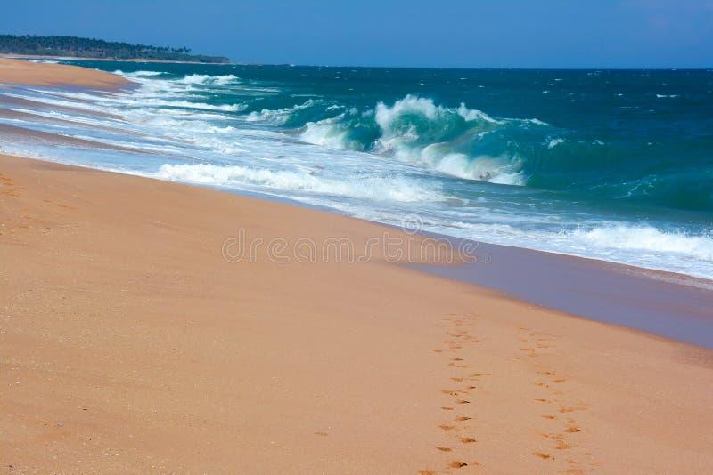 Due file delle orme sul paradiso della sabbia tirano in Tangall immagine stock