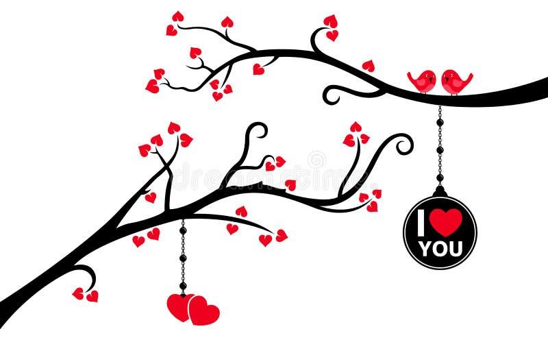 Due filiali con l'etichetta ed i cuori d'attaccatura di amore illustrazione di stock