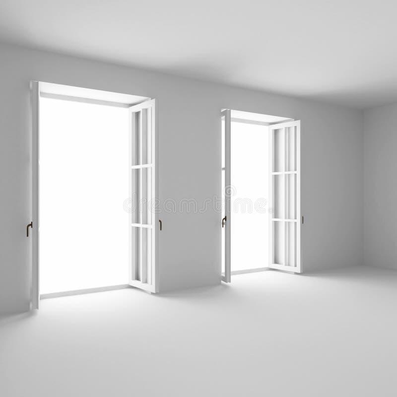 Due finestre francesi aperte fotografia stock libera da diritti