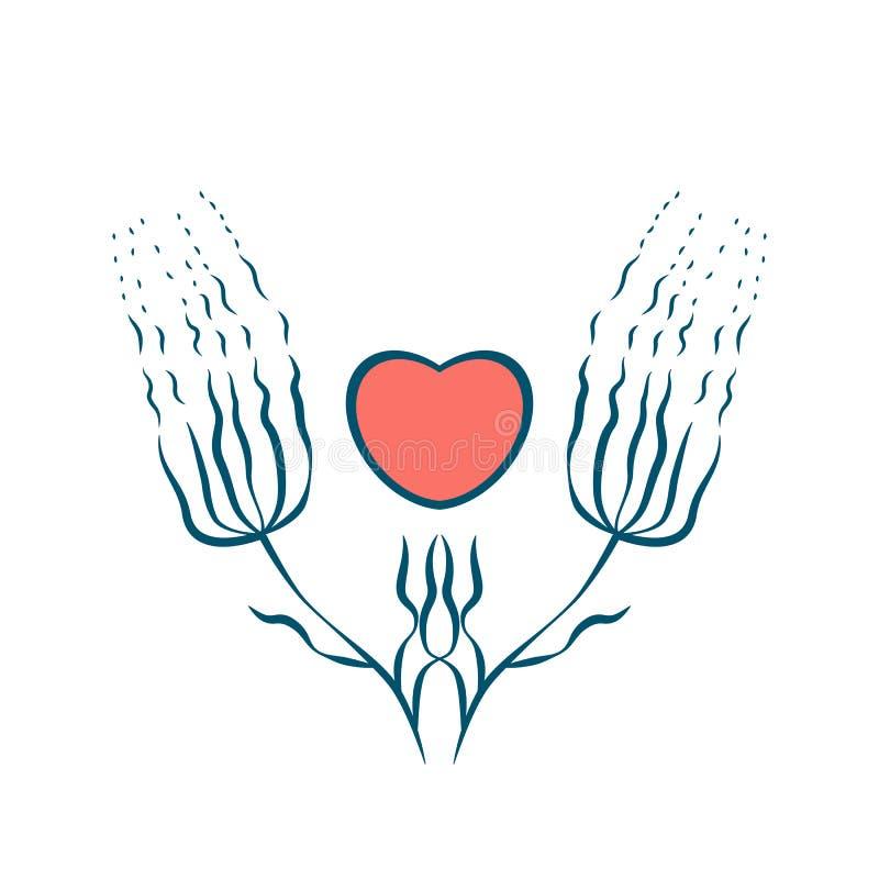 Due fiori astratti hanno sistemato simmetricamente e cuore Rosa rossa Isolato su priorità bassa bianca royalty illustrazione gratis