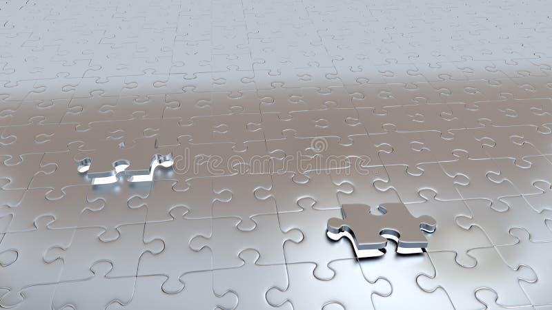 Due fori bianchi con due pezzi grigi che sfuggono in un pavimento di puzzle illustrazione di stock