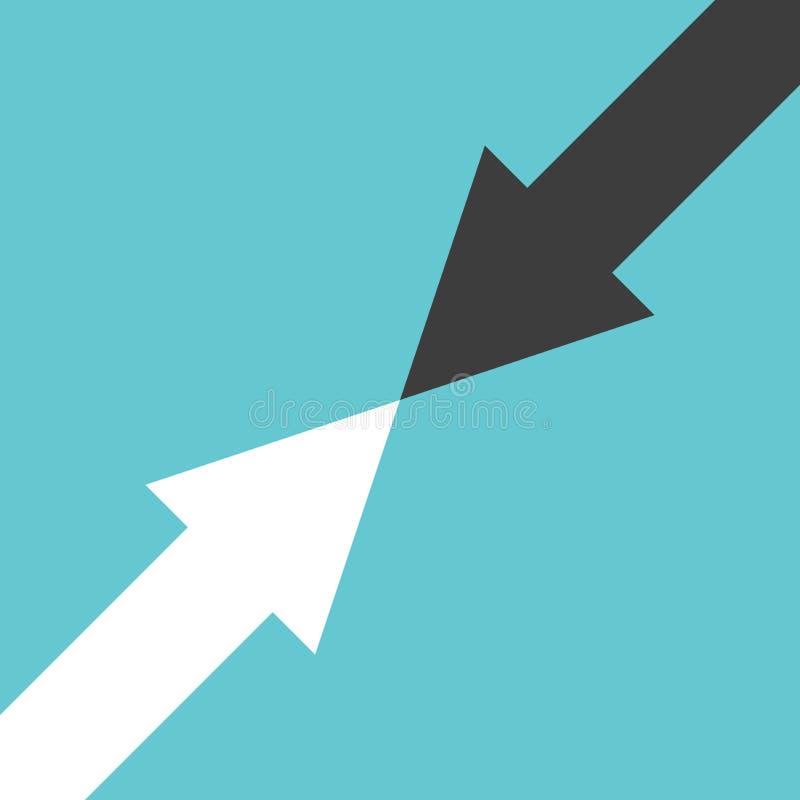 Due frecce, concetto di opposizione illustrazione di stock