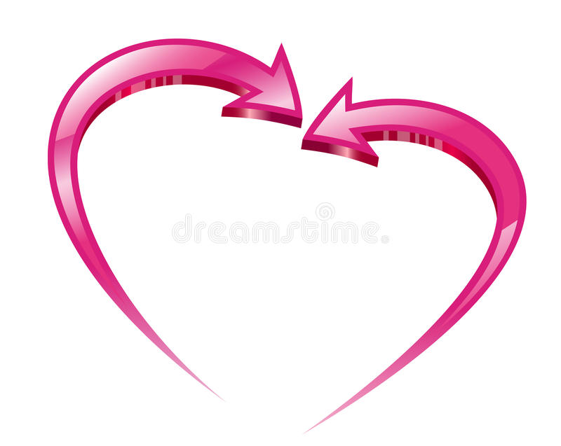 Due frecce dentellare creano una figura del cuore. royalty illustrazione gratis