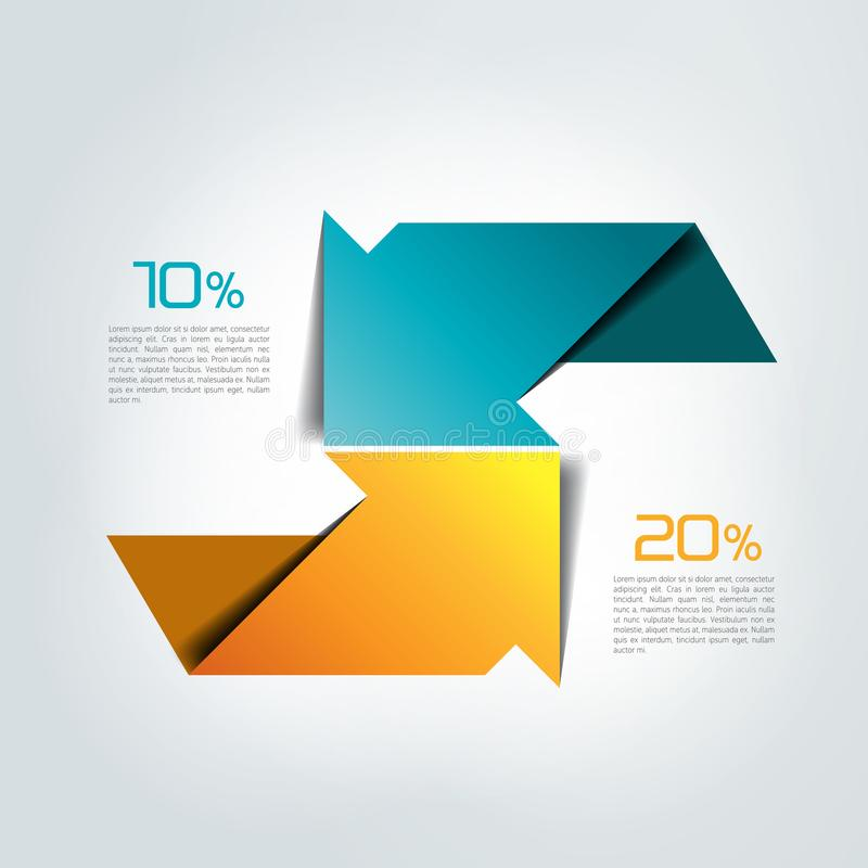 Due frecce nella direzione differente infographic, grafico, schema, diagramma illustrazione di stock