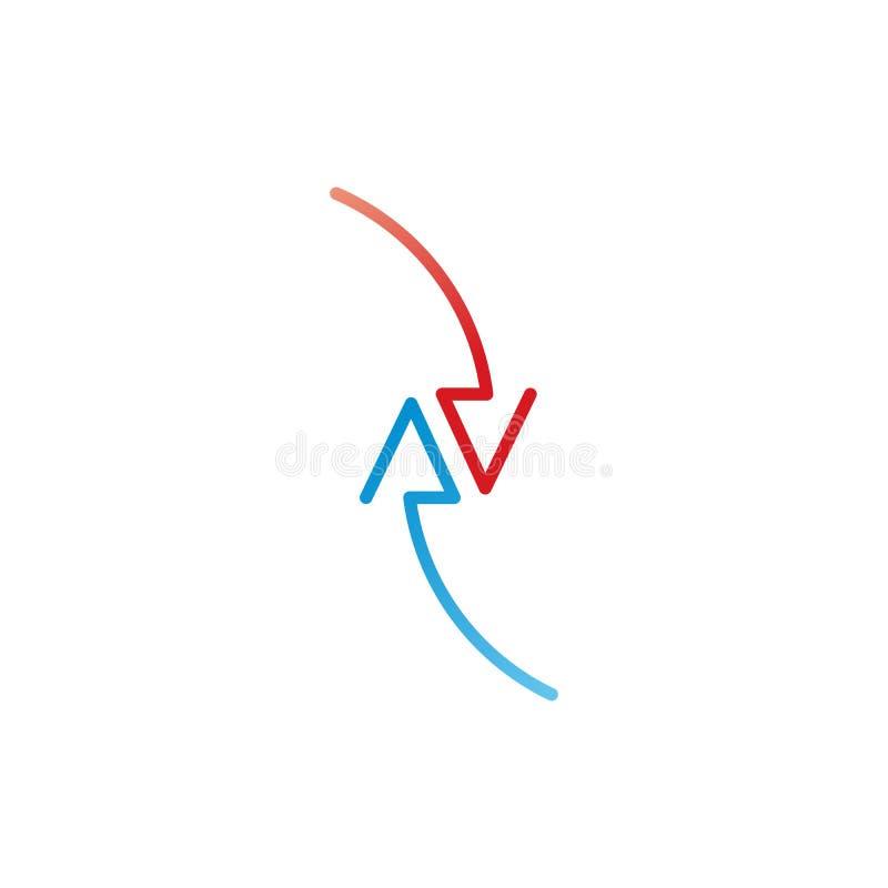Due frecce rosse e blu nella direzione differente infographic, grafico, schema, diagramma Illustrazione di vettore isolata su bia illustrazione vettoriale