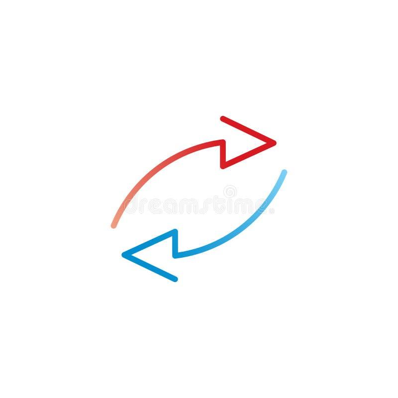 Due frecce rosse e blu nella direzione differente infographic, grafico, schema, diagramma Illustrazione di vettore isolata su bia illustrazione di stock