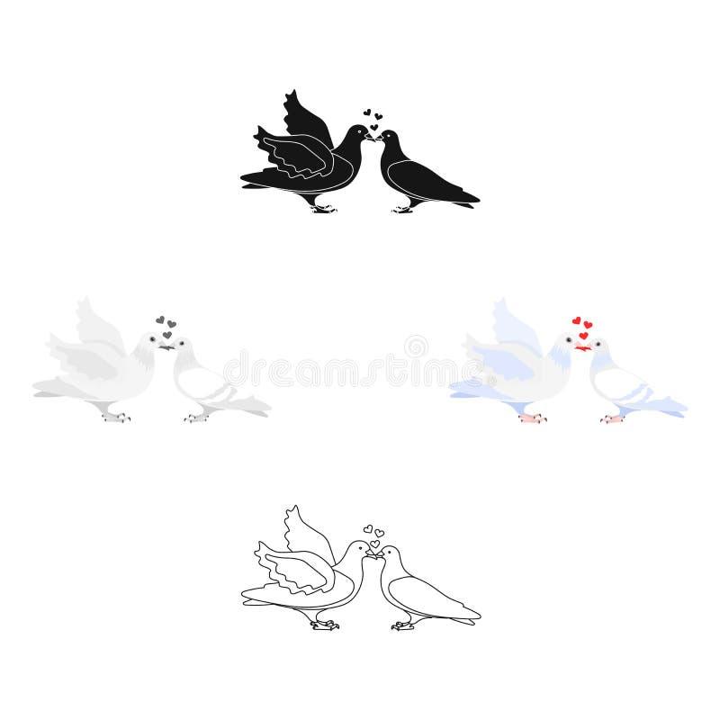 Due fumetto divertente, illustrazione nera dei piccioni Colombe bianche con un cuore Un simbolo di amore per la sposa e lo sposo  illustrazione vettoriale