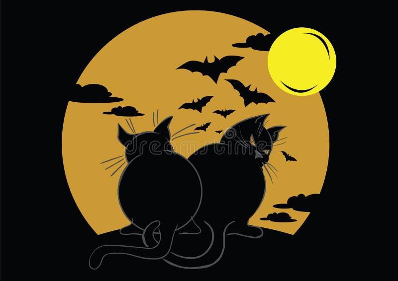 Due gatti neri con i pipistrelli e la luna illustrazione di stock