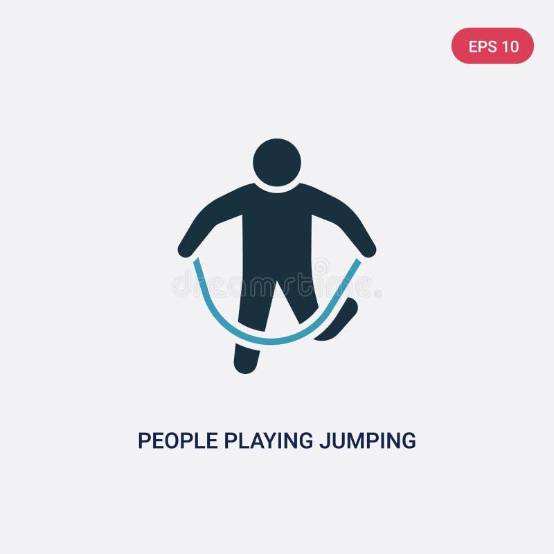 Due genti di colore che giocano l'icona di vettore della corda di salto dal concetto ricreativo dei giochi gente blu isolata che  illustrazione di stock