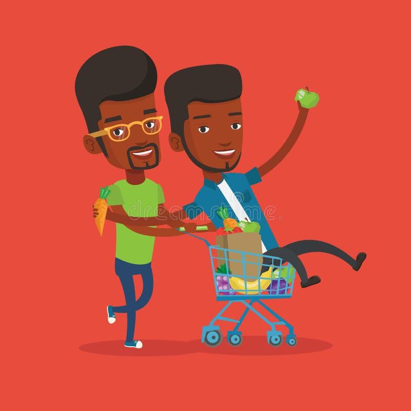 Due giovani amici che guidano in carrello di compera illustrazione vettoriale