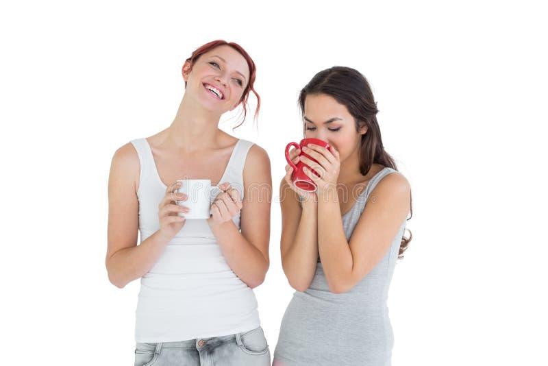 Due giovani amici femminili sorridenti che bevono caffè immagini stock libere da diritti