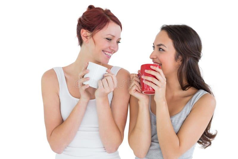 Due giovani amici femminili sorridenti che bevono caffè fotografie stock