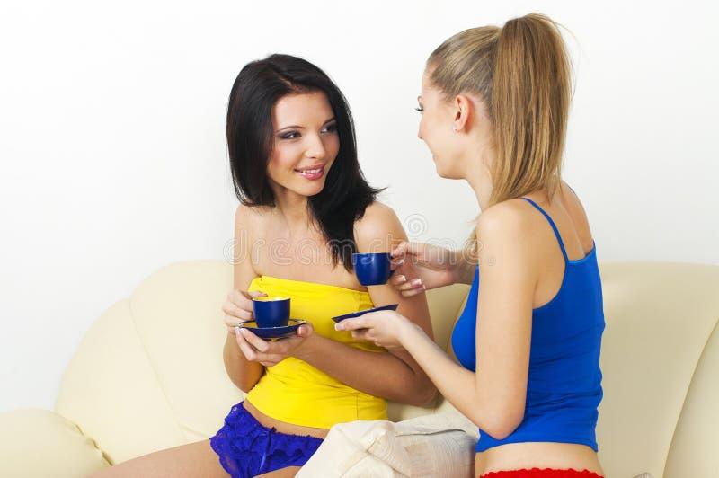 Due giovani belle ragazze che bevono tè e conversazione immagini stock