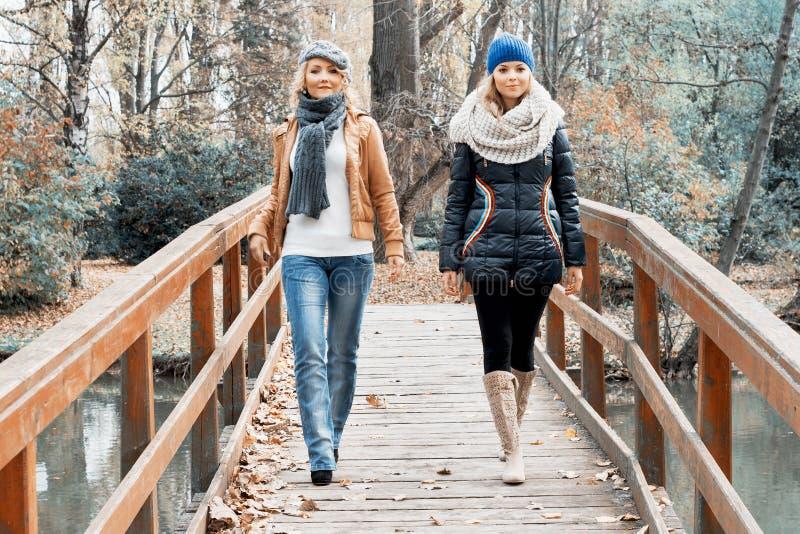 Due giovani donne attraenti che posano su un ponte di legno fotografia stock