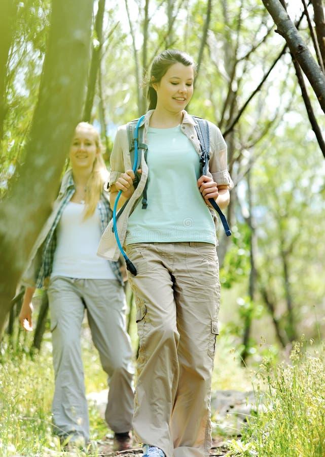 Due giovani donne che fanno un'escursione fra gli alberi fotografie stock libere da diritti