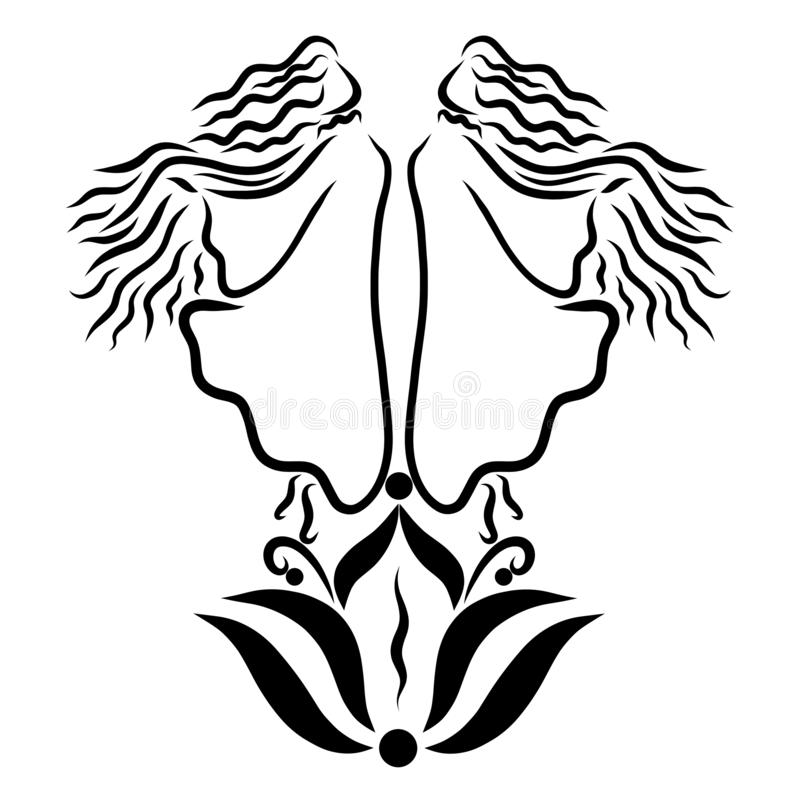Due giovani fatati sopra un giglio di fioritura royalty illustrazione gratis