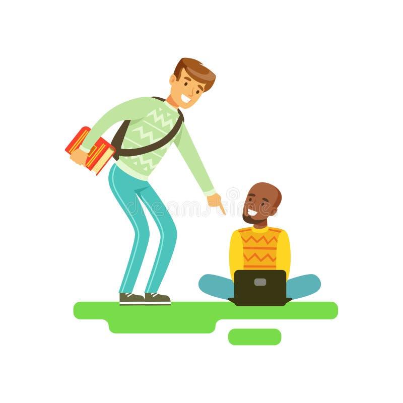 Due giovani studenti maschii sorridenti che parlano, amici che comunicano l'illustrazione di vettore illustrazione di stock