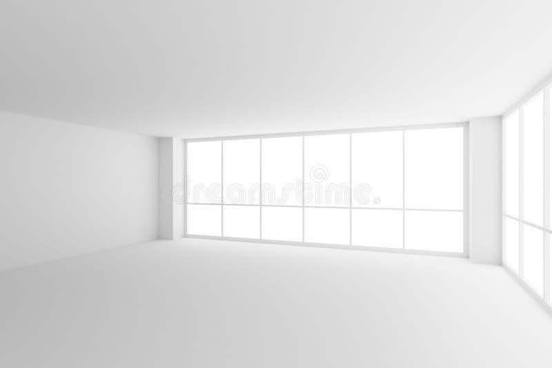 Due grandi finestre nella stanza bianca vuota dell'ufficio di affari con illustrazione di stock