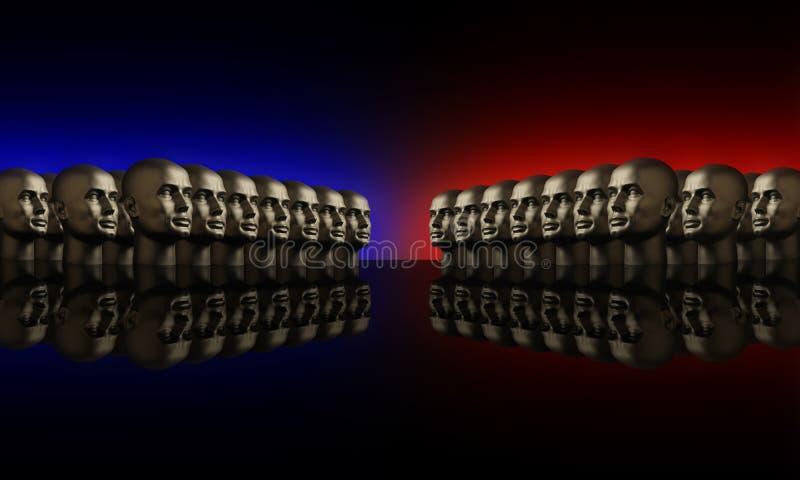 Due gruppi di mannaquin dirige il colore rosso e l'azzurro immagini stock libere da diritti