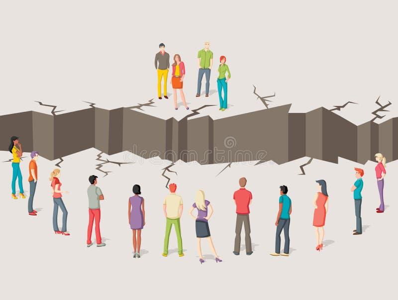 Due gruppi di persone separati illustrazione di stock