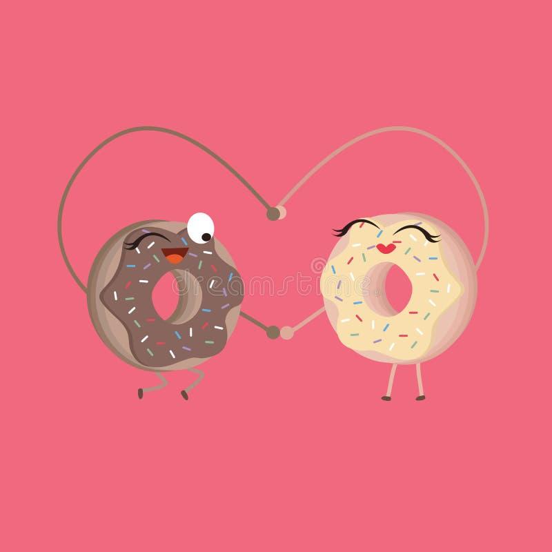 Due guarnizioni di gomma piuma fanno il cuore modellare i personaggi dei cartoni animati divertenti di alimento royalty illustrazione gratis