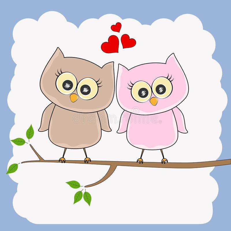 Due gufi amorosi, uccelli felici stanno sedendo su un albero illustrazione vettoriale