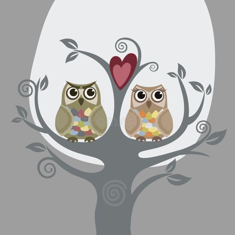Due gufi ed alberi di amore illustrazione vettoriale