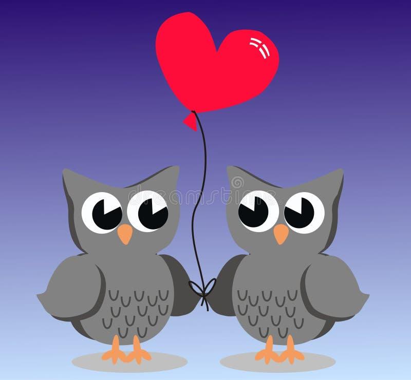 Due gufi svegli nell'amore illustrazione vettoriale