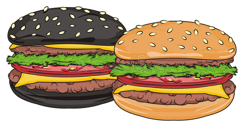 Due hamburger differenti illustrazione vettoriale