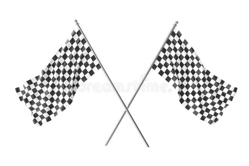 Due hanno attraversato le bandiere a quadretti della corsa, bandiera a quadretti di finitura, rappresentazione 3d isolata su bian illustrazione di stock