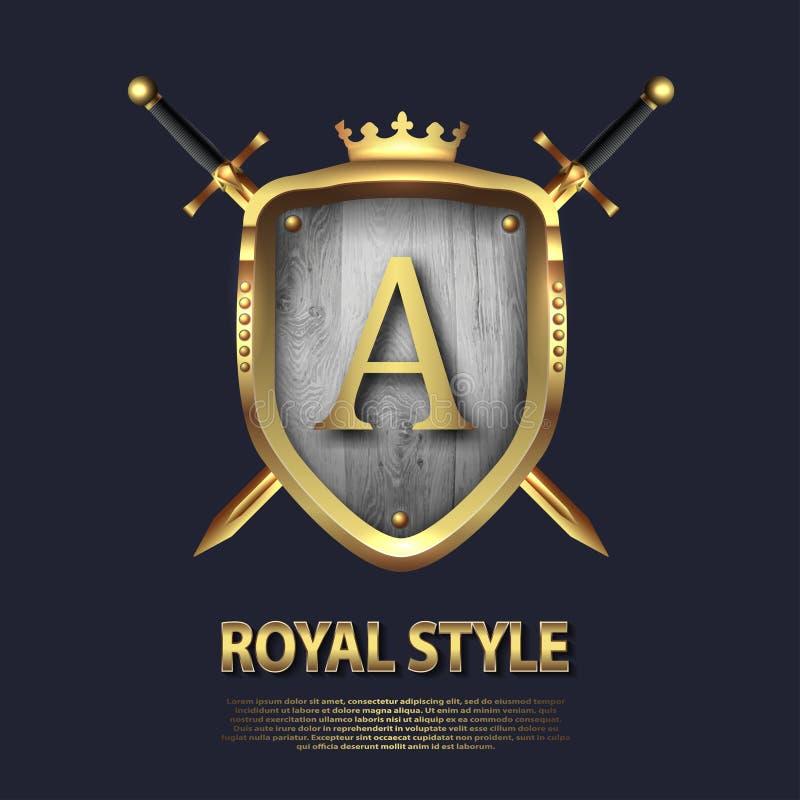 Due hanno attraversato le spade e lo schermo con la corona e la lettera A Progettazione di lettera nel colore dell'oro per gli us illustrazione vettoriale