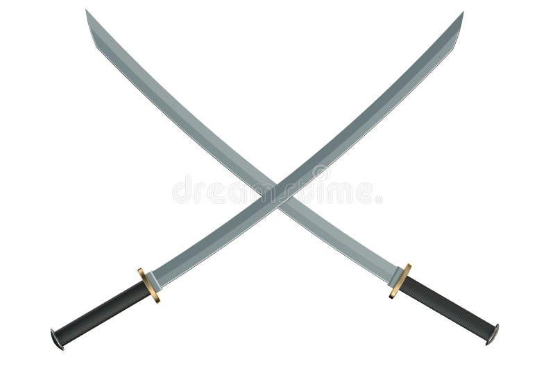 Due hanno attraversato le spade giapponesi di katana del samurai fotografia stock libera da diritti