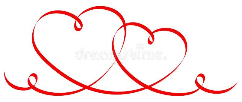 Due hanno collegato i cuori rossi di calligrafia illustrazione di stock