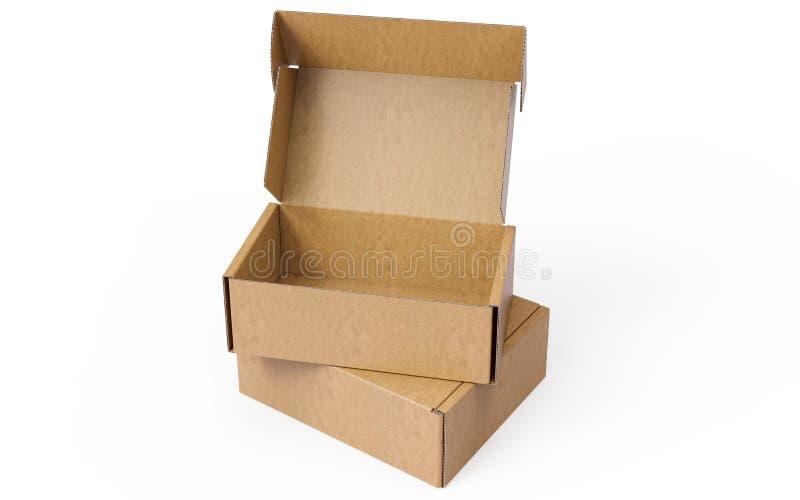 Due hanno impilato ed aperto i contenitori d'imballaggio di cartone ondulato su fondo bianco fotografia stock