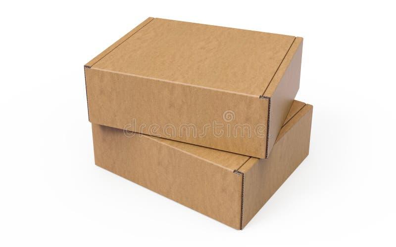 Due hanno impilato i contenitori d'imballaggio di cartone ondulato su fondo bianco fotografie stock