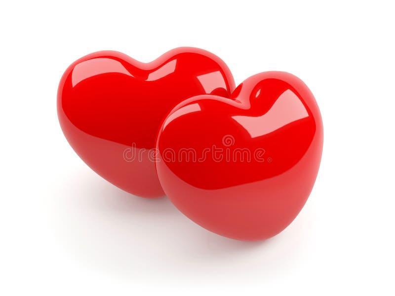 Due hanno isolato il cuore rosso illustrazione vettoriale