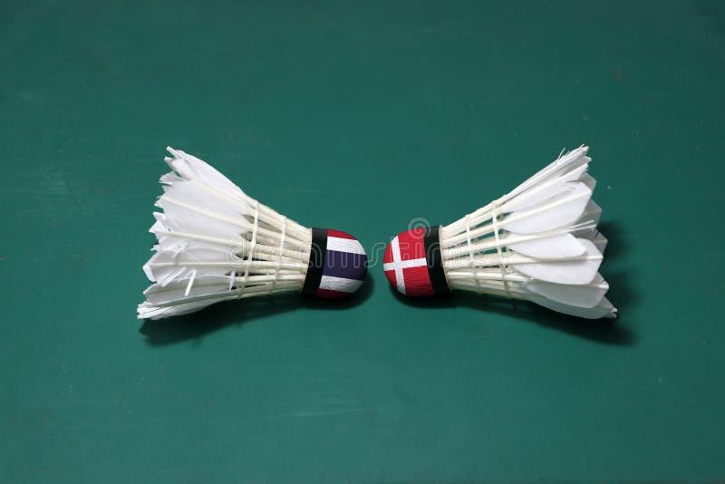 Due hanno usato i volani sul pavimento verde del campo da badminton con sia per dirigersi Una testa dipinta con la bandiera taila immagine stock
