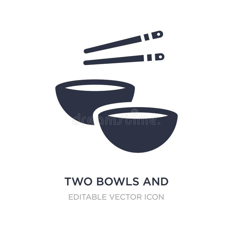 due icone dei bastoncini e delle ciotole su fondo bianco Illustrazione semplice dell'elemento dal concetto degli utensili e degli illustrazione vettoriale