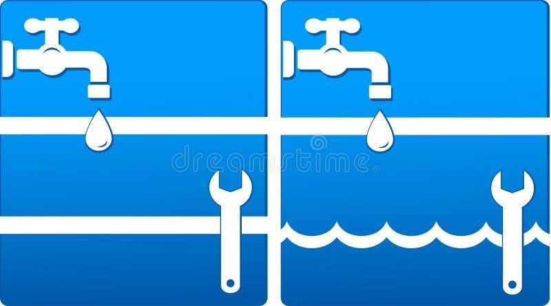 Icone dell'acqua con il rubinetto e la chiave illustrazione di stock