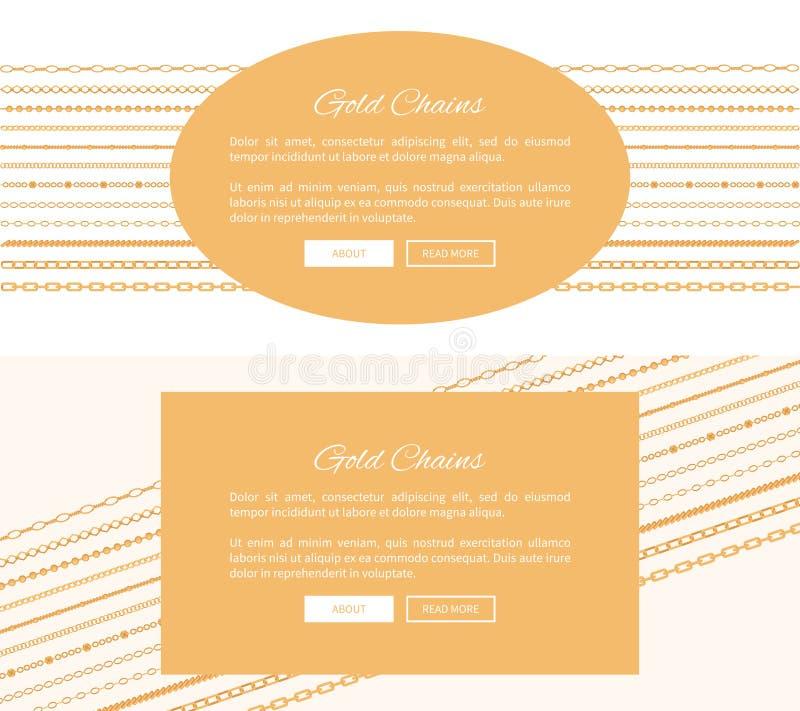 Due illustrazioni a catena di vettore di colore di manifesti dell'oro illustrazione vettoriale