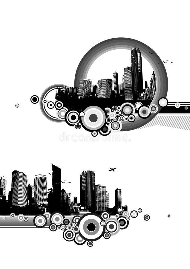 Due illustrazioni della città con i cerchi. illustrazione di stock