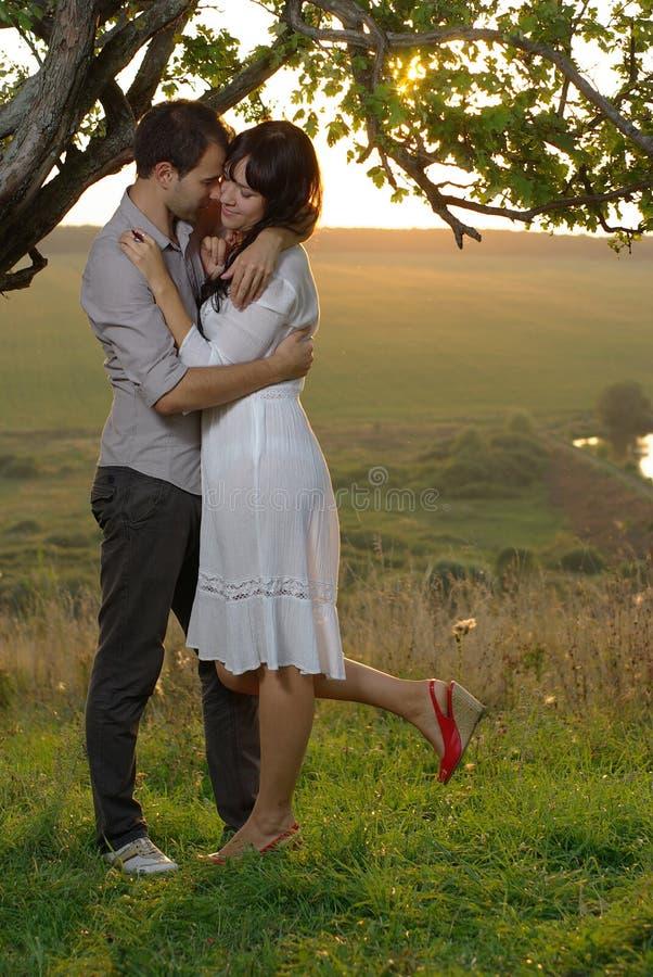 Due innamorati che baciano sotto l'albero al tramonto fotografia stock