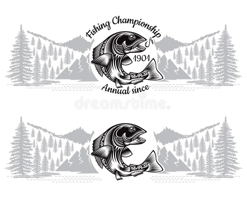 Due insegne con la siluetta di color salmone della curvatura del pesce con la canna da pesca attraversata nello stile engrving co illustrazione vettoriale