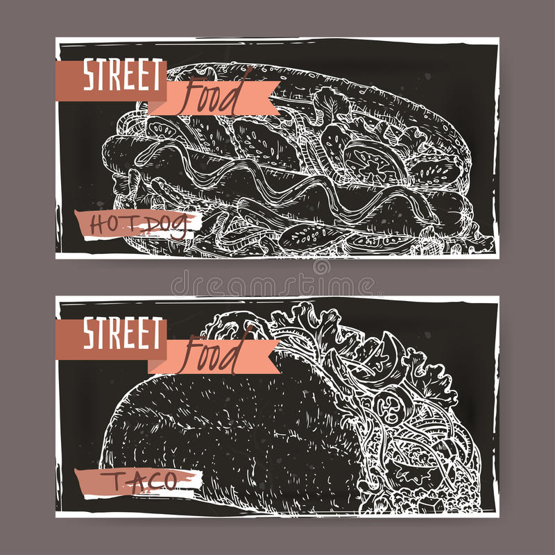 Due insegne del paesaggio con lo schizzo del taco e del hot dog sul nero illustrazione vettoriale