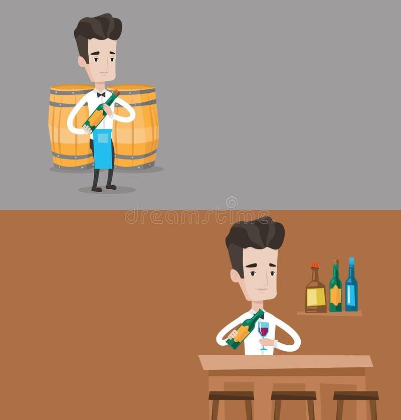 Due insegne della bevanda e dell'alimento con spazio per testo illustrazione vettoriale