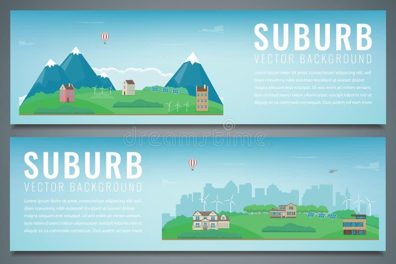 Due insegne della città con paesaggio suburbano Architettura della costruzione, città di paesaggio urbano Vettore illustrazione vettoriale