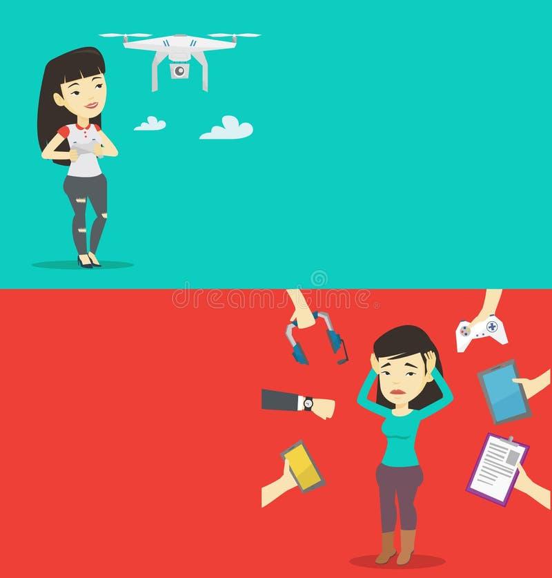 Due insegne di tecnologia con spazio per testo illustrazione vettoriale