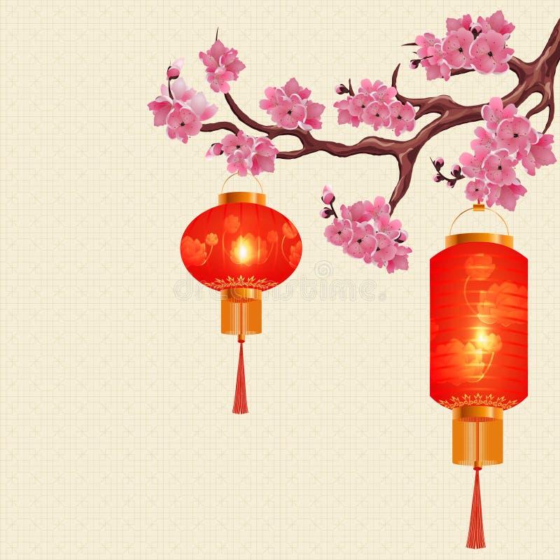 Due lanterne cinesi rosse e una forma cilindrica rotonda su un ramo della ciliegia con i fiori rosa Illustrazione royalty illustrazione gratis