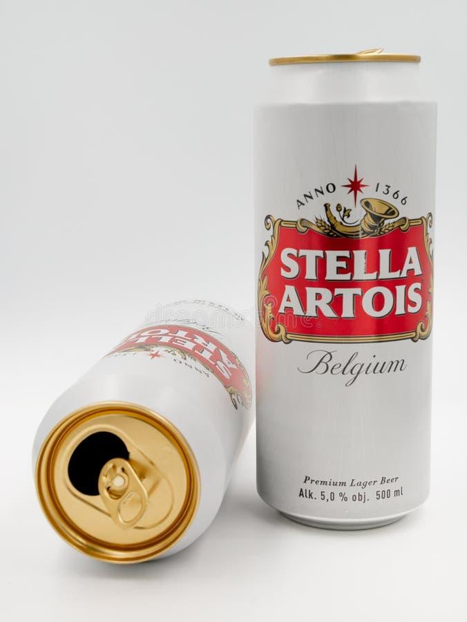 Due latte bianche di grande birra del Belgio - Stella Artois - su fondo bianco immagini stock libere da diritti